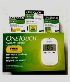 Johnson & Johnson With 70 Strips One Touch Select Glucometer(White)