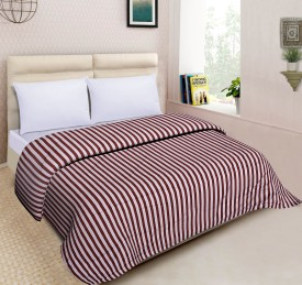 Spangle Striped Double Quilts & Comforters Maroon(AC Blanket, 1 Comforters)