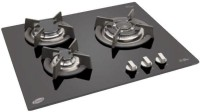 Glen Glen GL 1063 TR GLASS 3 Burner Glass Auto Built in Hob Glass Automatic Gas Stove(3 Burners)