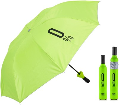 Home Story Home Story Fashionable Wine Bottle Black 110 cm Travel Umbrella Umbrella(Green)