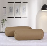 Salona Bichona Plain Bolsters Cover(Pack of 2, 76 cm*76 cm, Brown)