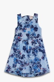 Aomi Girl's Midi/Knee Length Casual Dress(Blue, Sleeveless)