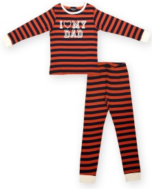 Ventra Kids Nightwear Girls Printed Cotton(Orange Pack of 1)