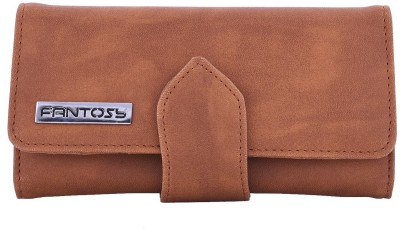 Fantosy Women Tan Artificial Leather Wrist Wallet(8 Card Slots)