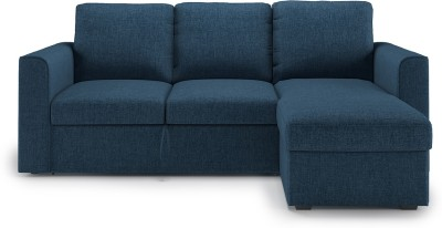 Urban Ladder Kowloon Sectional Sofa Cum Bed with Storage Double NA Sofa Bed(Finish Color - Blue Mechanism Type - Fold Out)