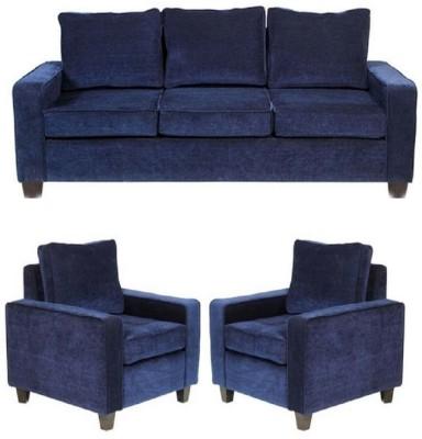 GIOTEAK Solid Wood 3 + 1 + 1 Blue Sofa Set