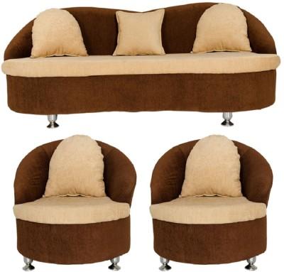 GIOTEAK Solid Wood 3 + 1 + 1 Cream Sofa Set