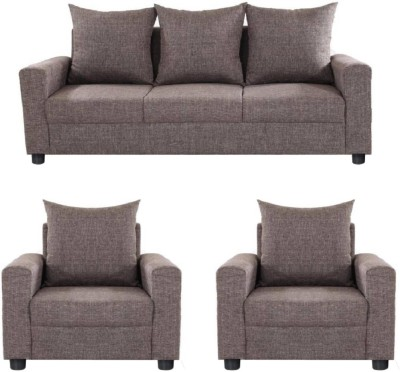 GIOTEAK Solid Wood 3 + 1 + 1 Brown Sofa Set
