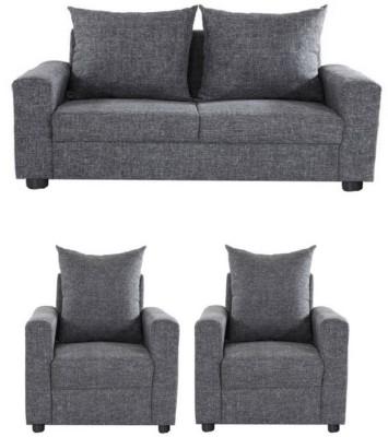 GIOTEAK Solid Wood 2 + 1 + 1 Grey Sofa Set