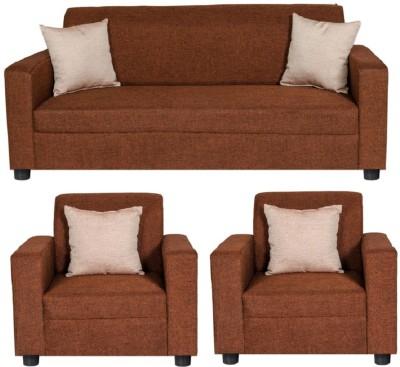 GIOTEAK Solid Wood 3 + 1 + 1 Maroon Sofa Set