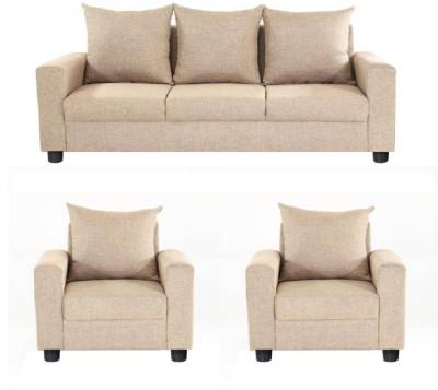 GIOTEAK Solid Wood 3 + 1 + 1 Beige Sofa Set