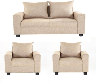 GIOTEAK Solid Wood 2 + 1 + 1 Beige Sofa Set