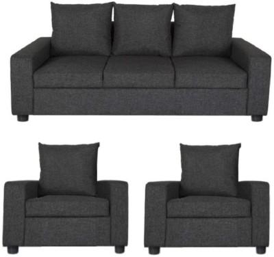 GIOTEAK Solid Wood 3 + 1 + 1 Black Sofa Set