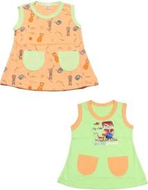 Babeezworld Girls Mini/Short Casual Dress(Multicolor, Sleeveless)