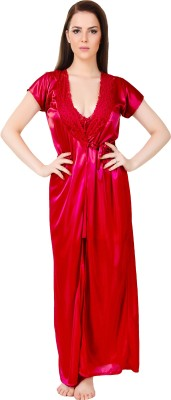 Bombshell Women Nighty with Robe(Maroon) at flipkart