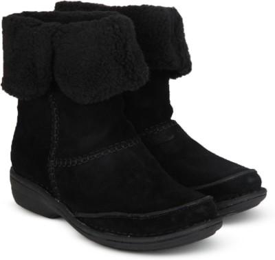 Clarks Avington Grace Black Sde Boots(Black)