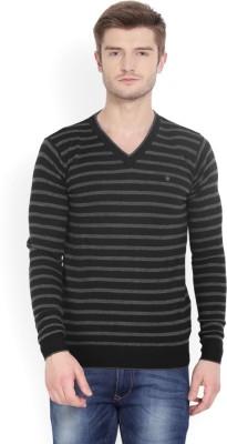 Louis Philippe Striped V-neck Casual Men Black Sweater