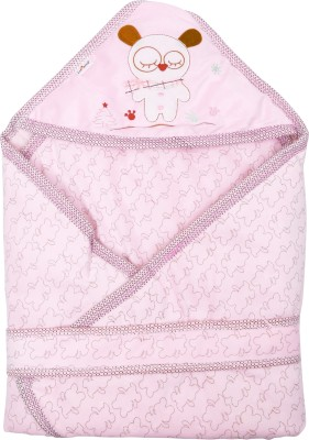 1st Step Printed Single Hooded Baby Blanket Pink(1 Baby Wrapper)