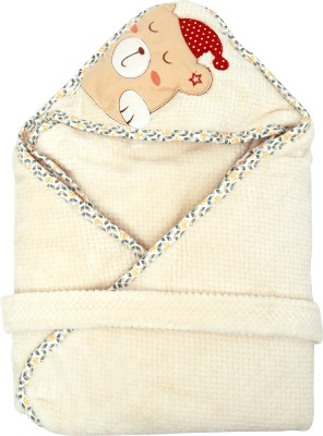 1st Step Plain Single Hooded Baby Blanket Cream(1 Baby Wrapper)