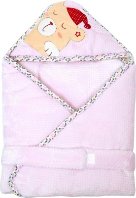 1st Step Plain Single Hooded Baby Blanket Pink(1 Baby Wrapper)