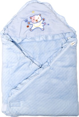 1st Step Plain Single Hooded Baby Blanket Blue(1 Baby Wrapper)