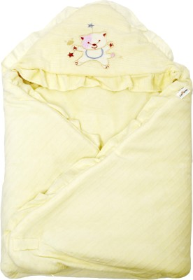 1st Step Plain Single Hooded Baby Blanket Yellow(1 Baby Wrapper)