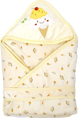 1st Step Printed Single Hooded Baby Blanket Cream(1 Baby Wrapper)
