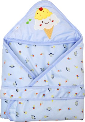 1st Step Printed Single Hooded Baby Blanket Blue(1 Baby Wrapper)
