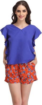Clovia Women Printed Blue Top & Shorts Set at flipkart