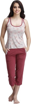Clovia Women Printed Maroon Top & Capri Set at flipkart