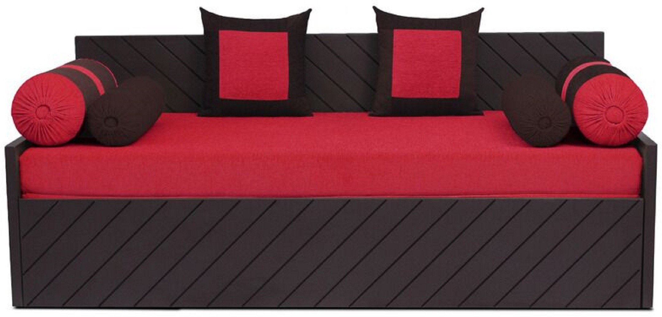 View Auspicious Home Kaiden (2 Pillows, 4 Bolsters) Double Fabric Sofa Bed(Finish Color - Red Mechanism Type - Pull Out) Furniture (Auspicious Home)