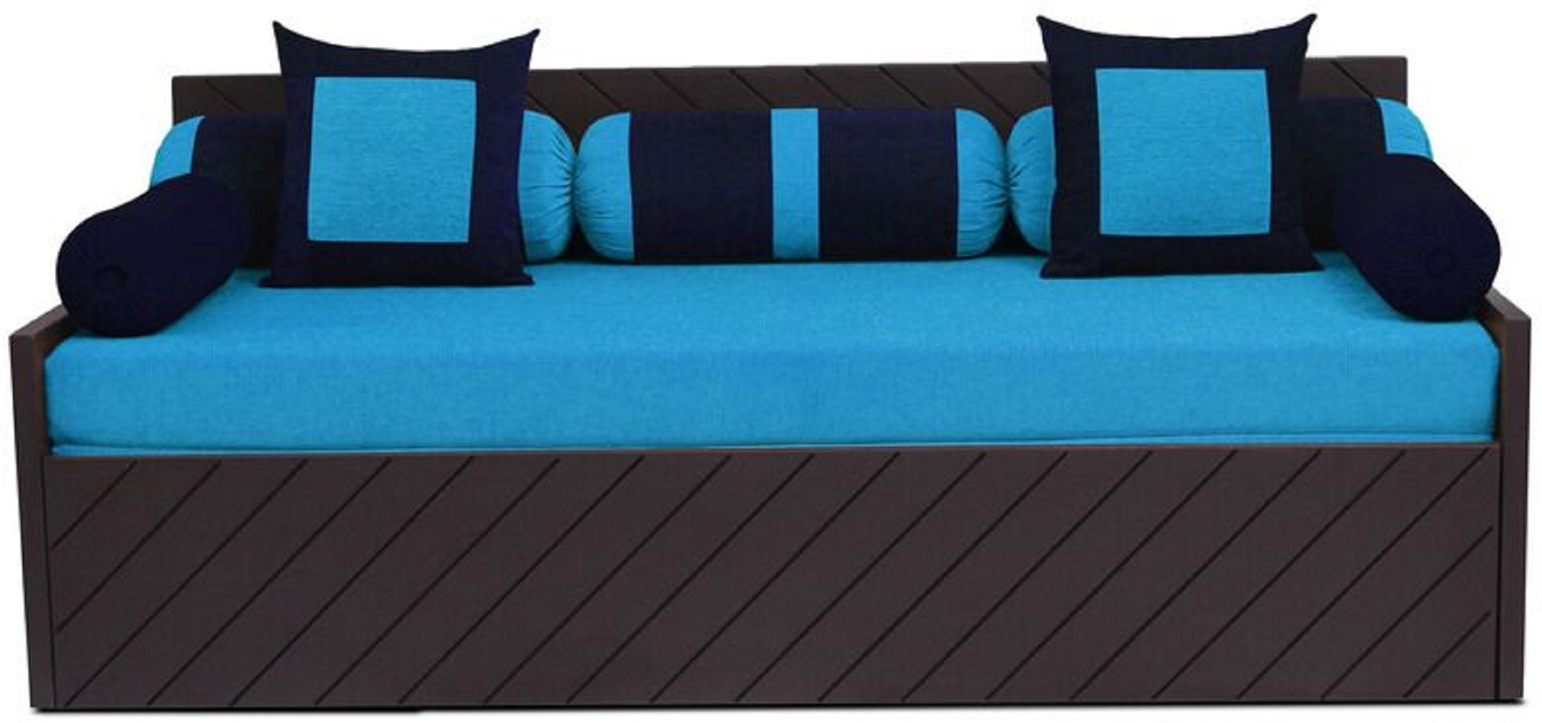 Auspicious Home Kaiden (2 Pillows, 5 Bolsters) Double Fabric Sofa Bed(Finish Color - Blue Mechanism Type - Pull Out)