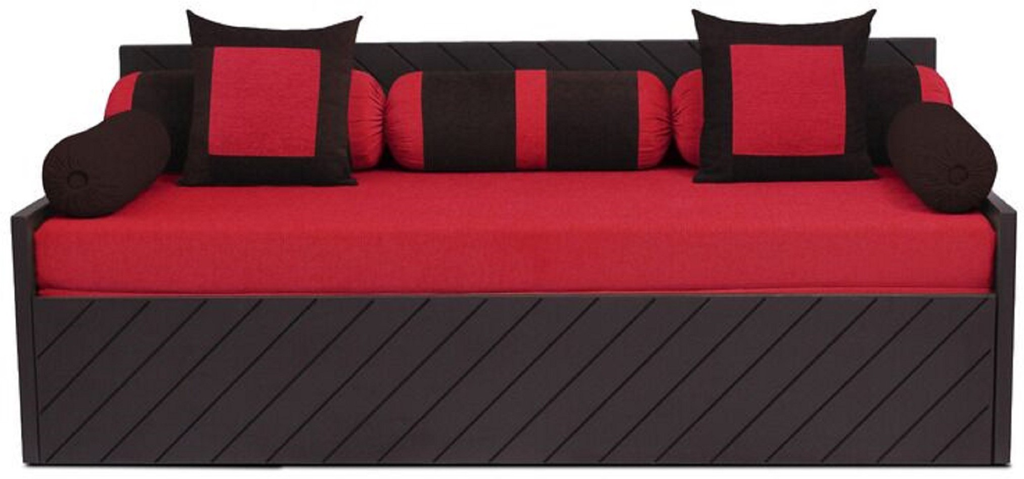 View Auspicious Home Kaiden (2 Pillows, 5 Bolsters) Double Fabric Sofa Bed(Finish Color - Red Mechanism Type - Pull Out) Furniture (Auspicious Home)