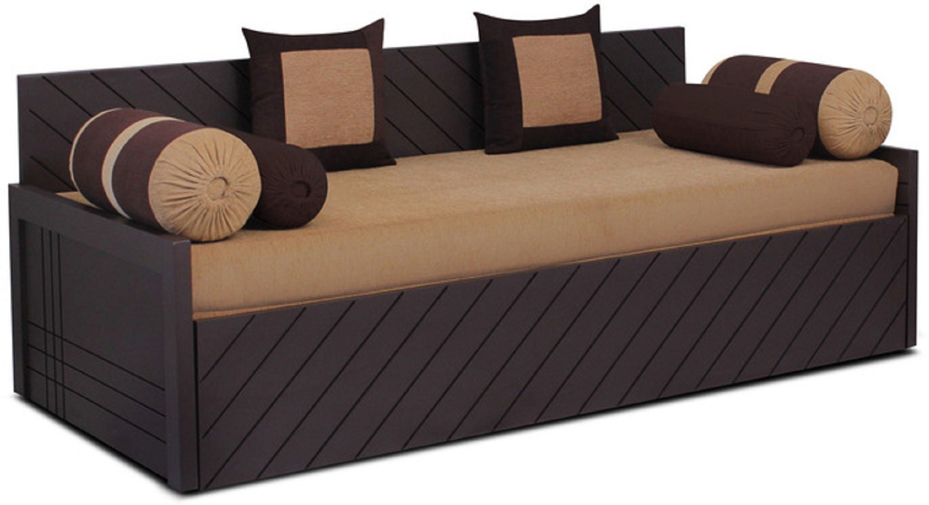 View Auspicious Home Kaiden (2 Pillows, 4 Bolsters) Double Fabric Sofa Bed(Finish Color - Brown Mechanism Type - Pull Out) Furniture (Auspicious Home)