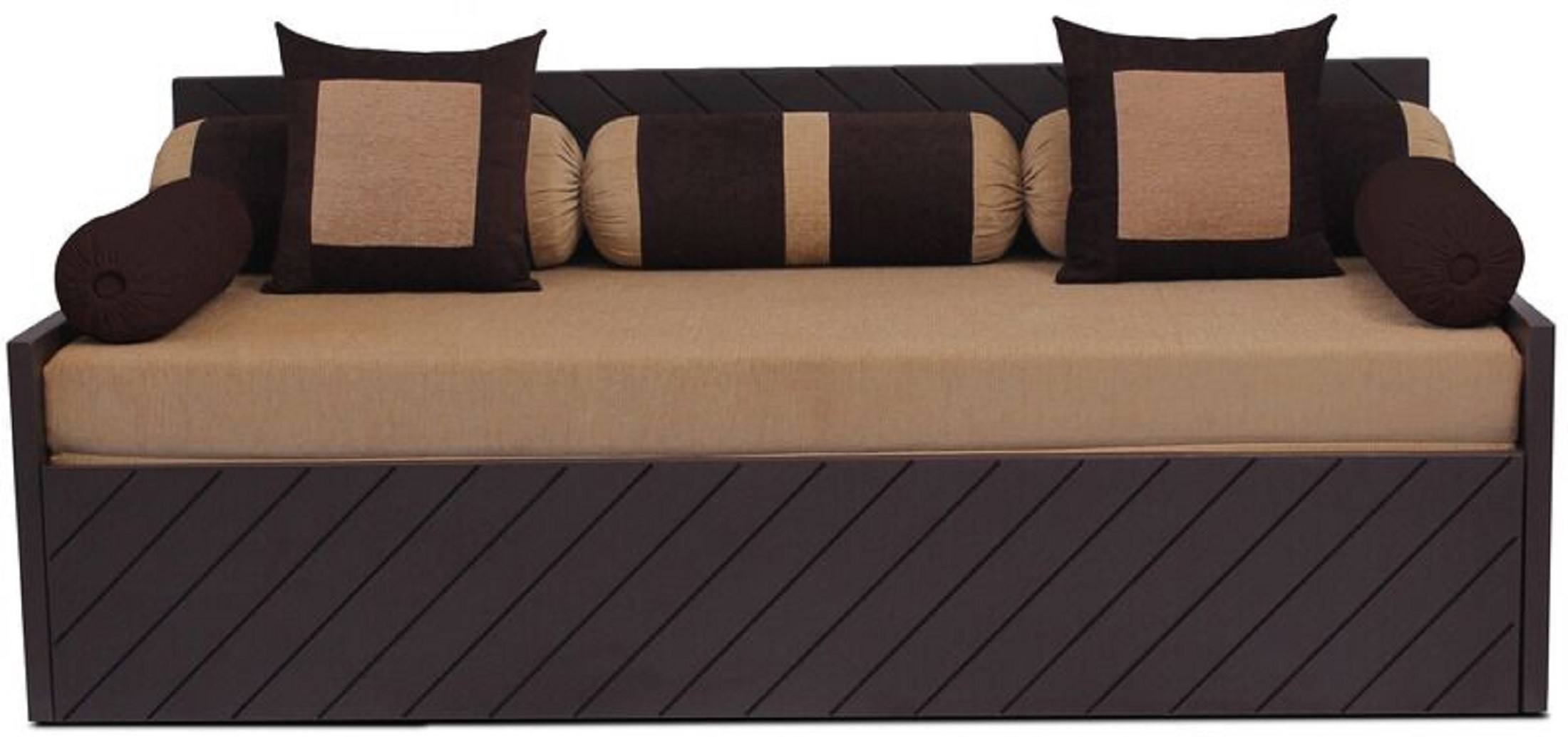 View Auspicious Home Kaiden (2 Pillows, 5 Bolsters) Double Fabric Sofa Bed(Finish Color - Brown Mechanism Type - Pull Out) Furniture (Auspicious Home)