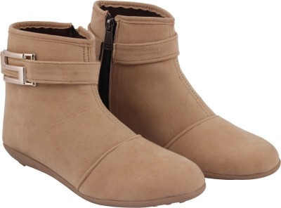 ABJ Fashion S Buckle Womens Stylish Beige Boots(Beige)