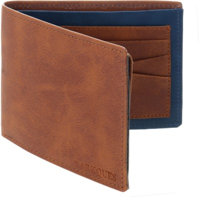 MARKQUES Men Tan Artificial Leather Wallet(10 Card Slots)