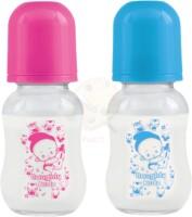 Naughty Kidz Regular Glass Feeding Bottle (120/PNK/BLE/SCHM) - 120 ml(Multicolor)