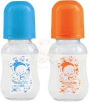 Naughty Kidz REGULAR GLASS FEEDING BOTTLE BLUE ORANGE COMBO - 120 ml(Multicolor)