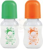 Naughty Kidz REGULAR GLASS FEEDING BOTTLE 120 ML GREEN ORANGE COMBO - 120 ml(Multicolor)