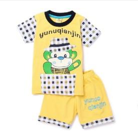 Born Wear Boys Casual T-shirt Pant(Yellow)