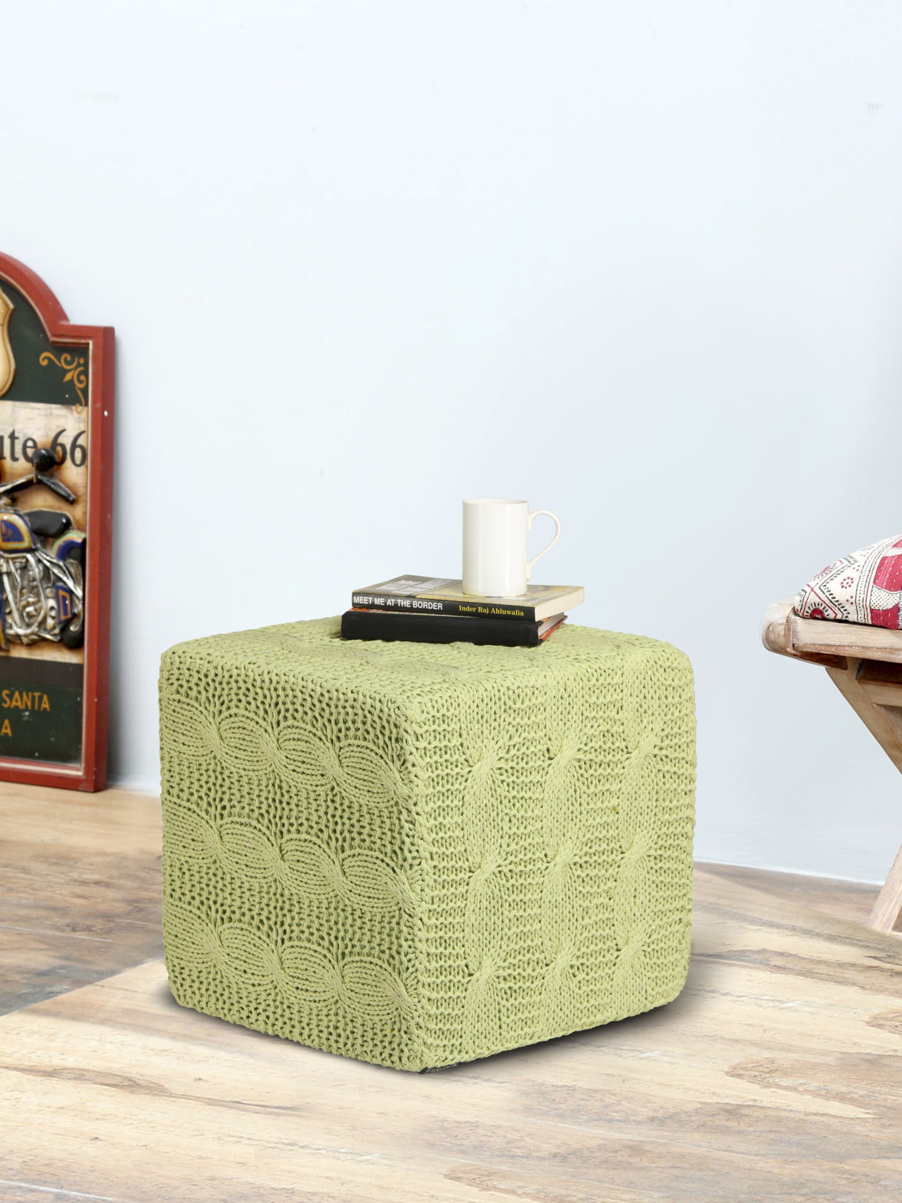 View Romee Fabric Pouf(Finish Color - Green) Furniture (Romee)