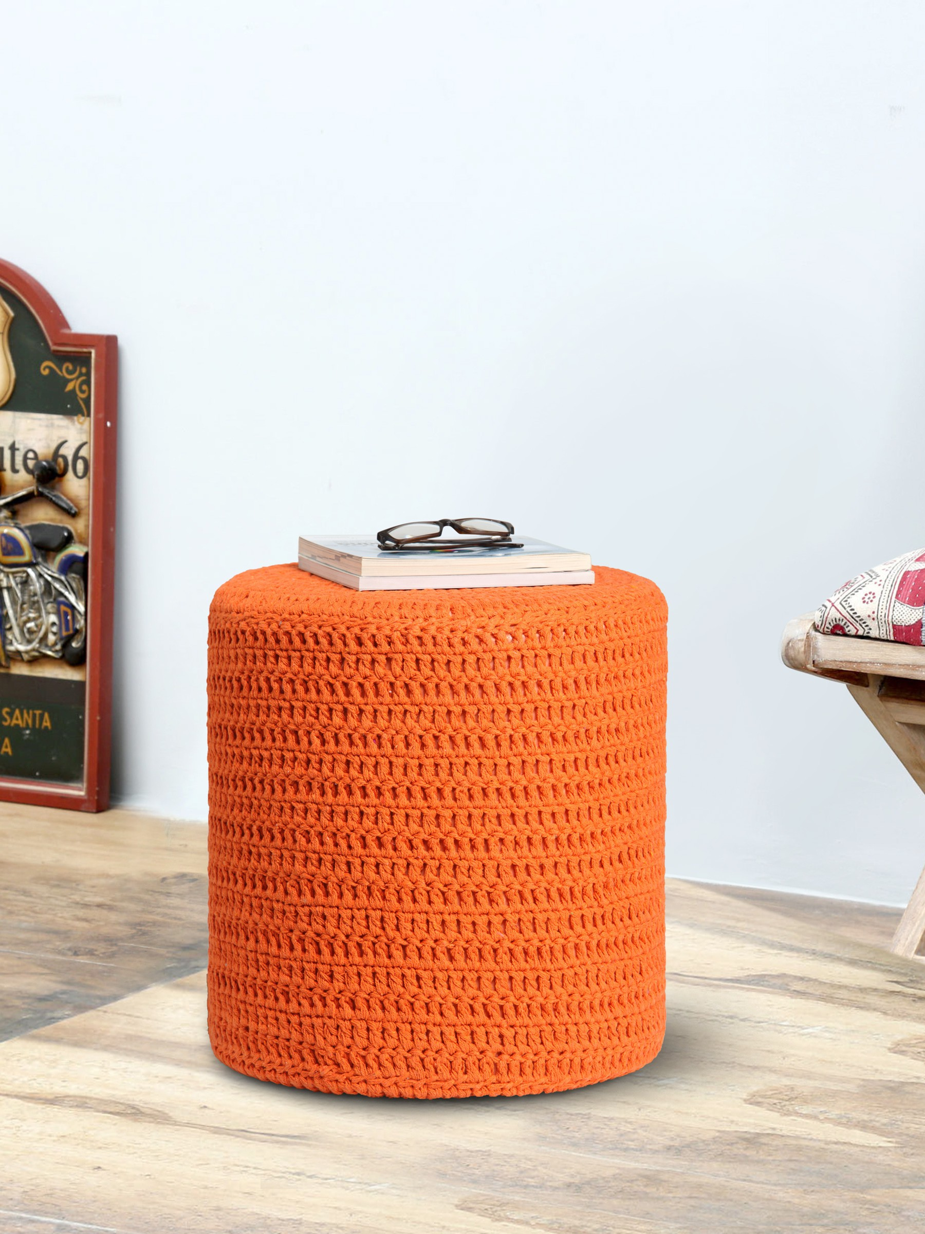 View Romee Fabric Pouf(Finish Color - Orange) Furniture (Romee)