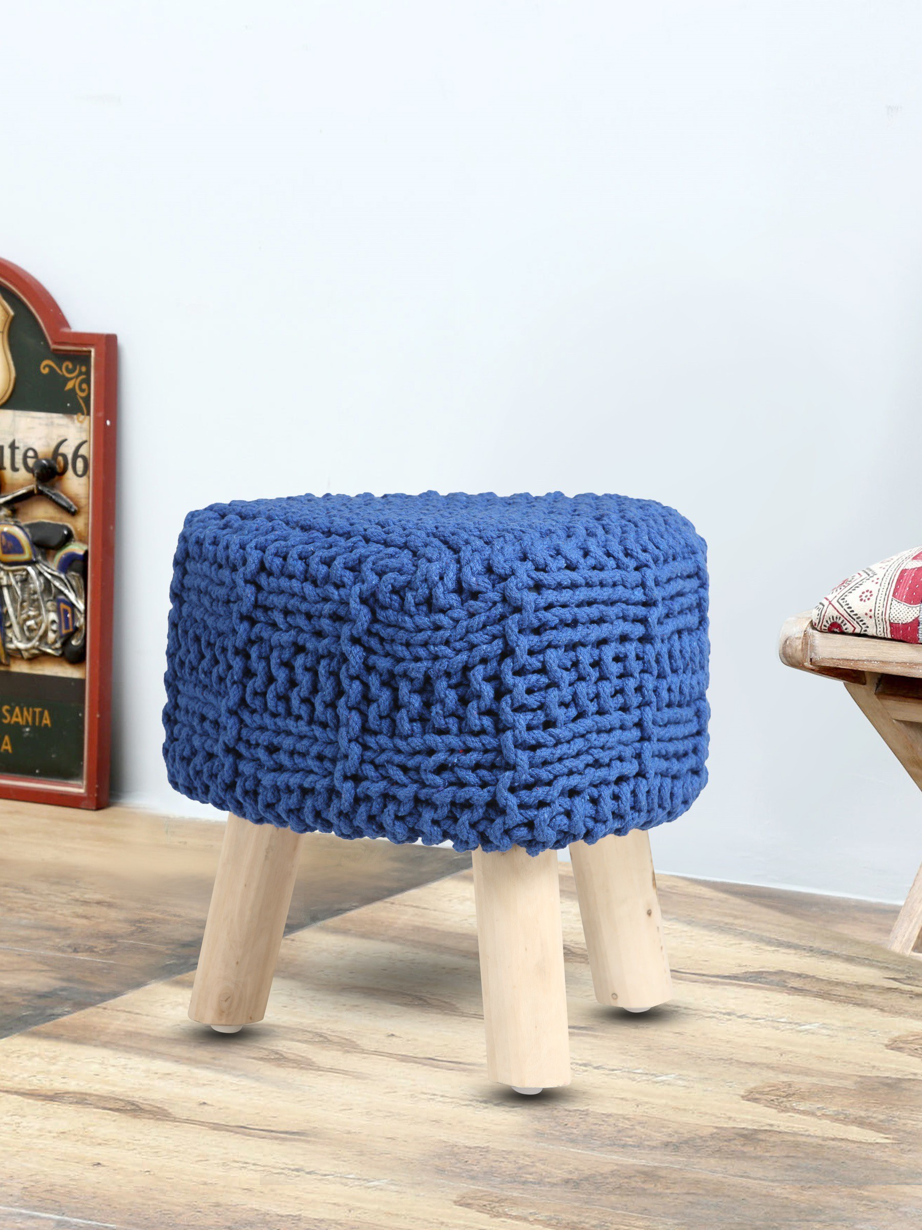 View Romee Solid Wood Pouf(Finish Color - Blue) Furniture (Romee)