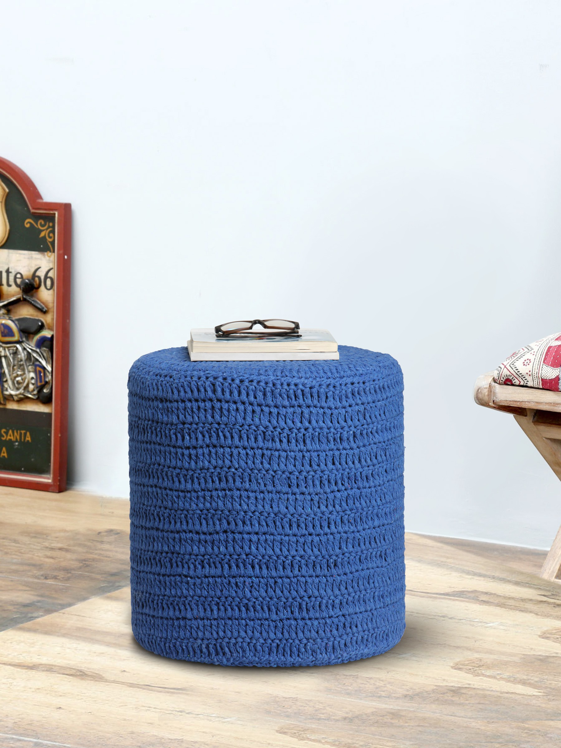 View Romee Fabric Pouf(Finish Color - Blue) Furniture (Romee)