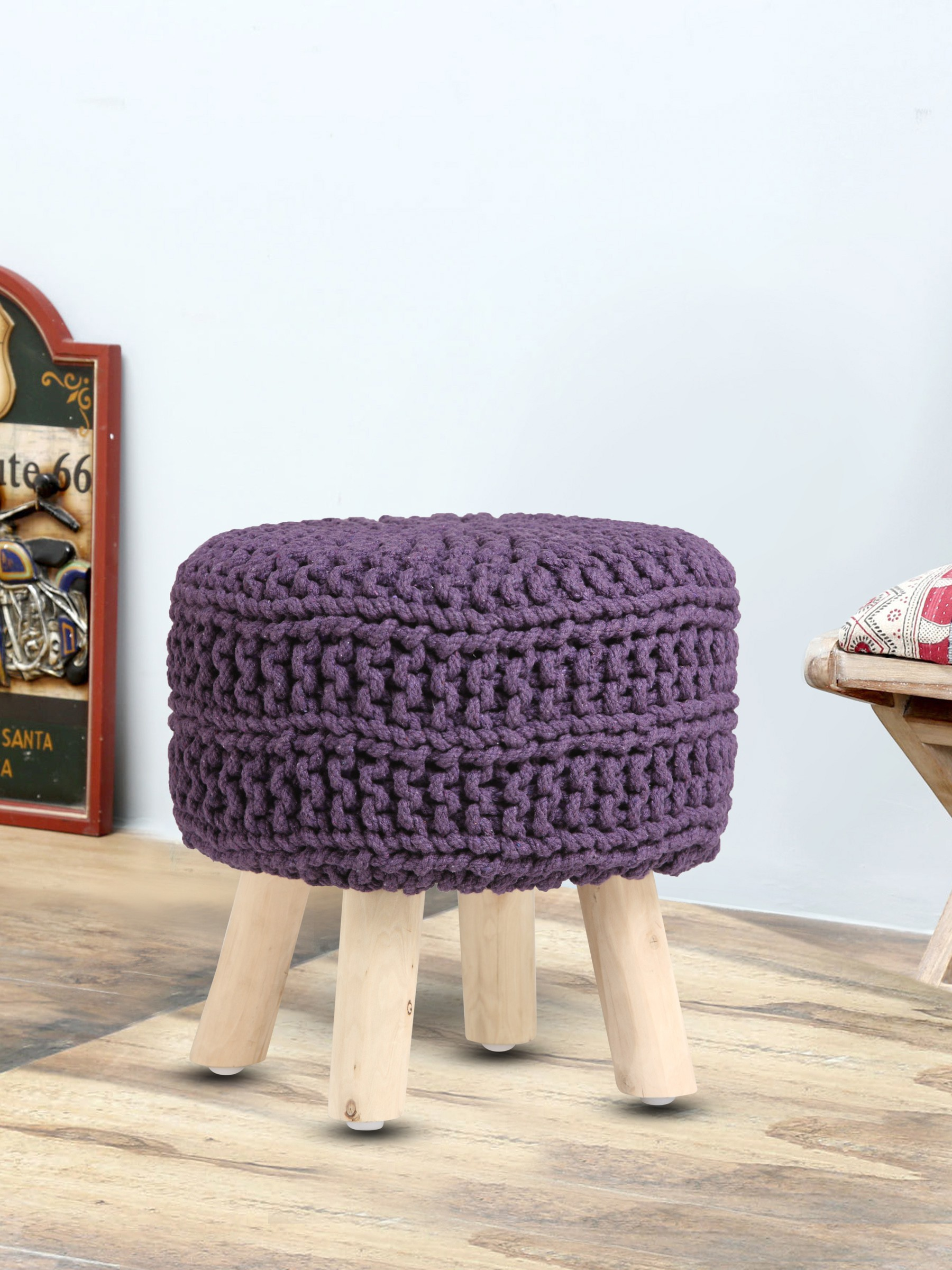 View Romee Solid Wood Pouf(Finish Color - Purple) Furniture (Romee)
