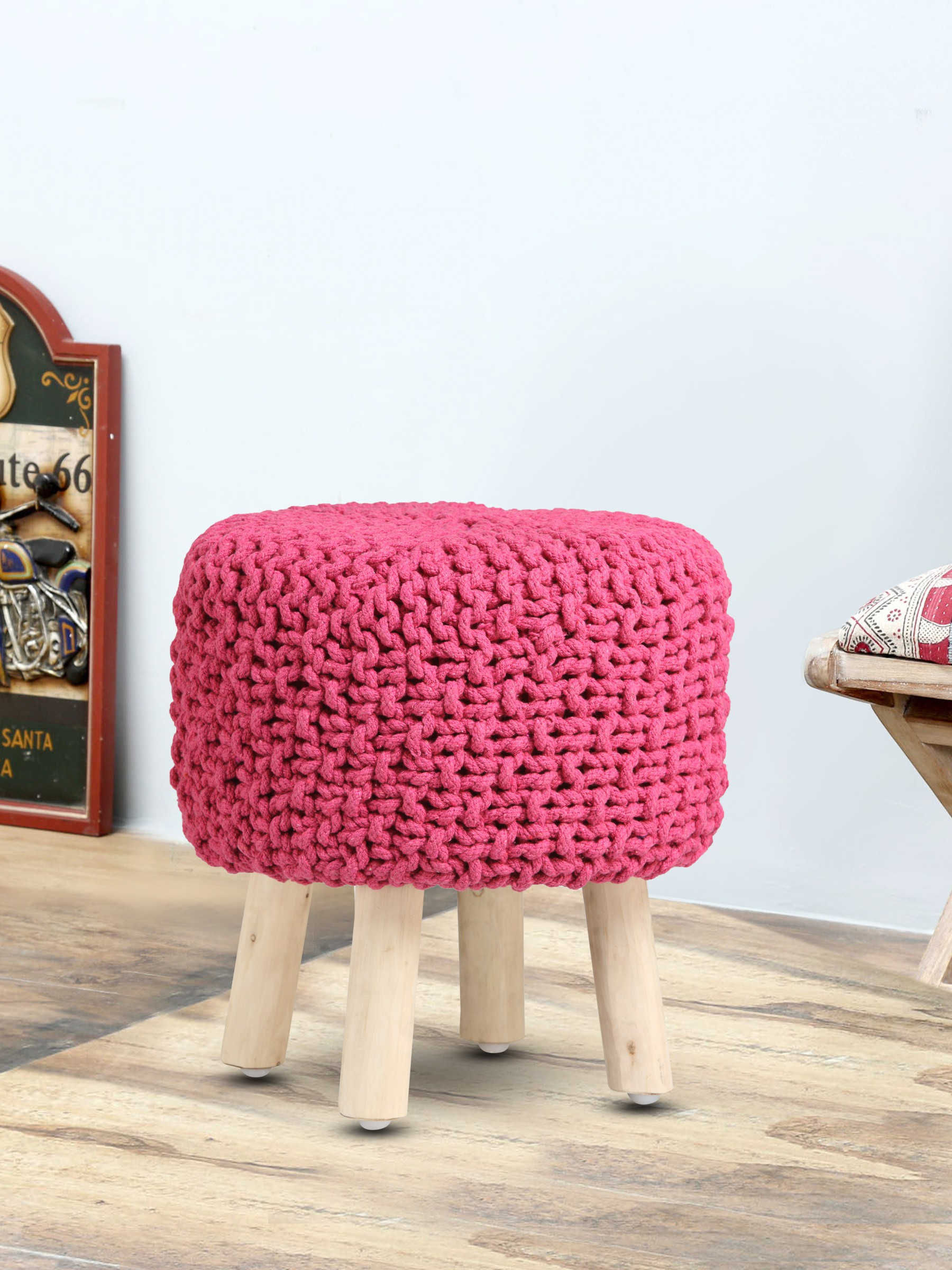 View Romee Solid Wood Pouf(Finish Color - Pink) Furniture (Romee)