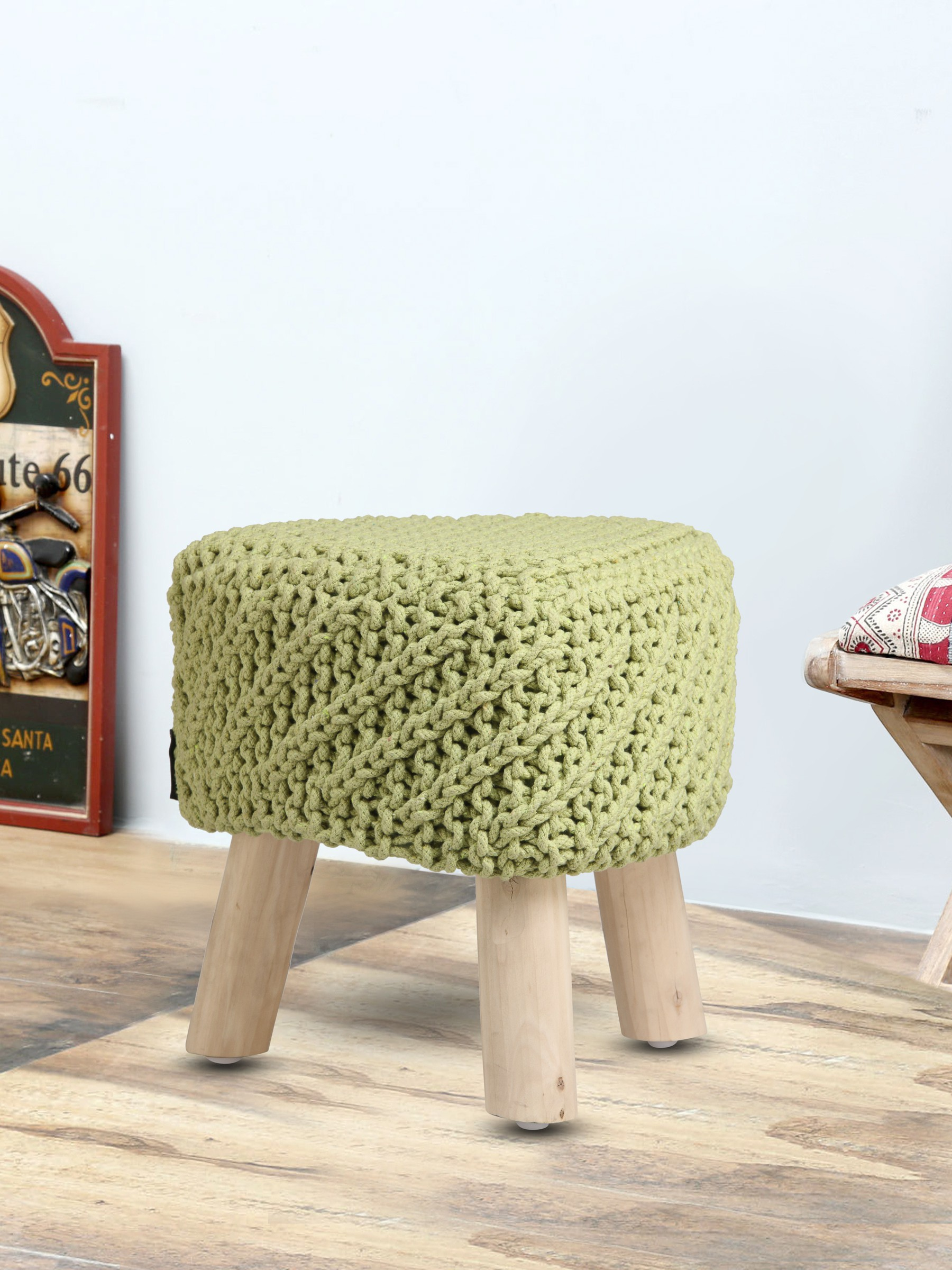 View Romee Solid Wood Pouf(Finish Color - Green) Furniture (Romee)