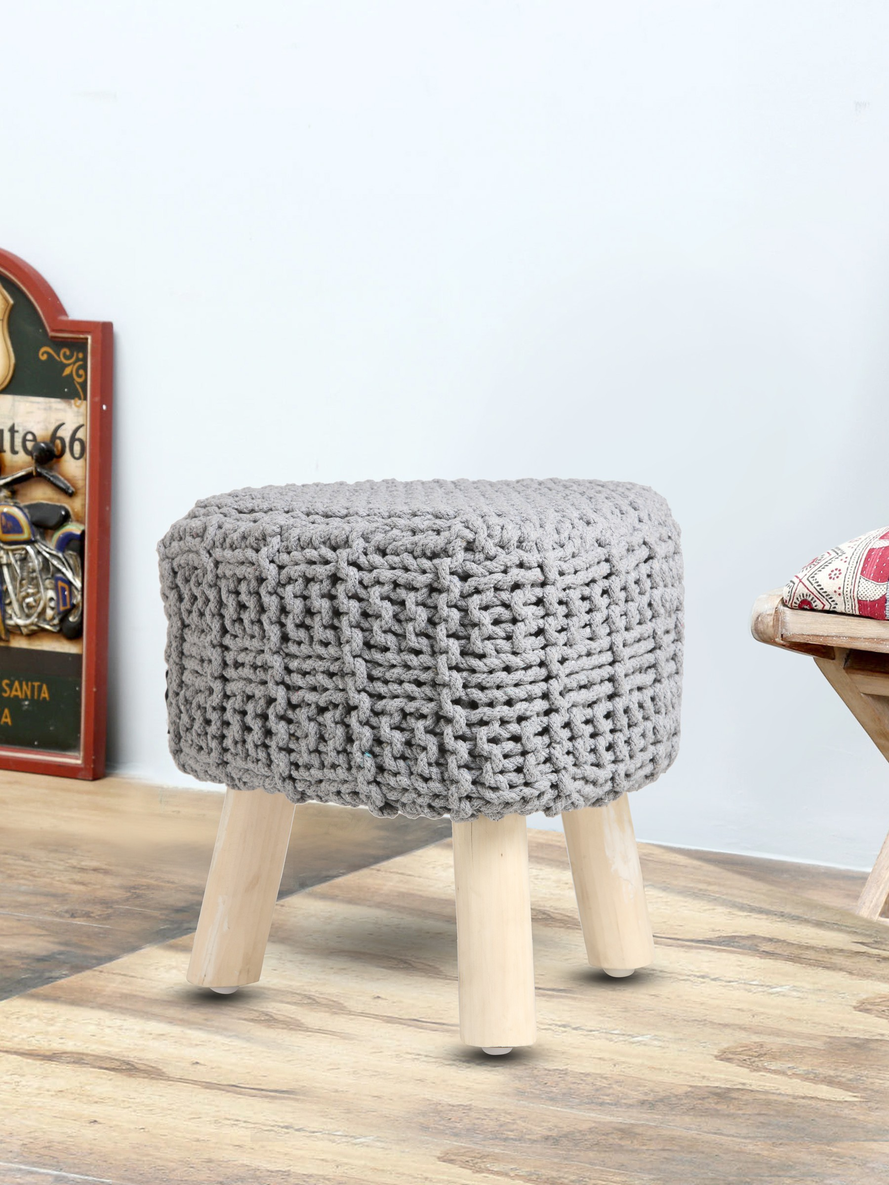View Romee Solid Wood Pouf(Finish Color - Grey) Furniture (Romee)