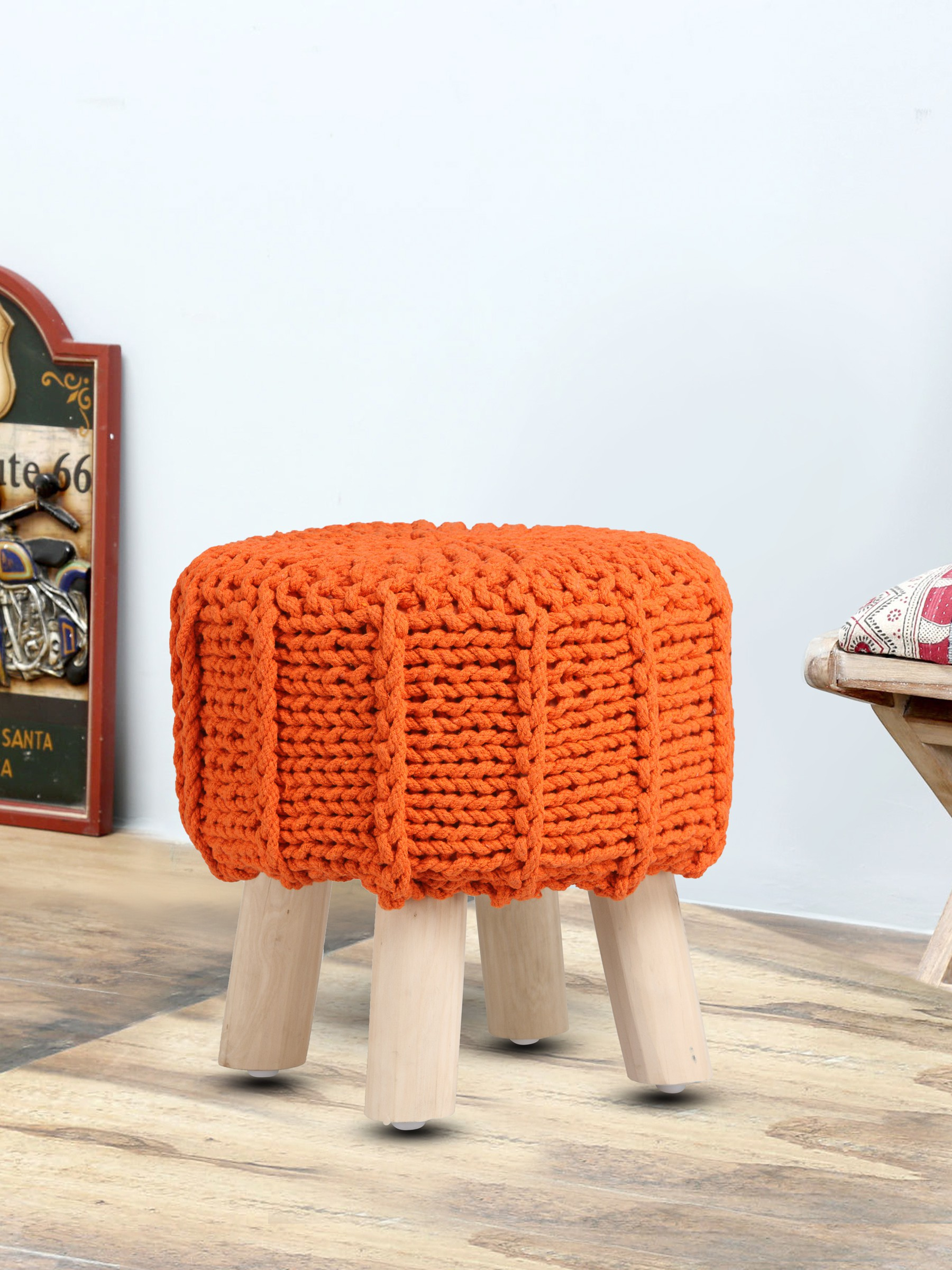 View Romee Solid Wood Pouf(Finish Color - Orange) Furniture (Romee)